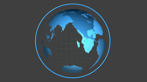 Blue globe spinning on grey background Animation