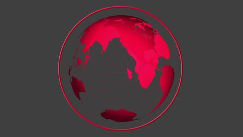 Red globe spinning on grey background Animation