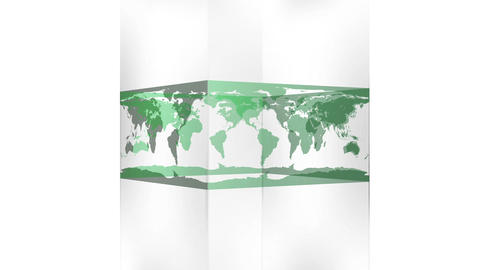 Transparent block showing world map on white background Animation