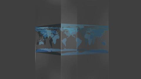 Transparent block showing world map on grey background Animation