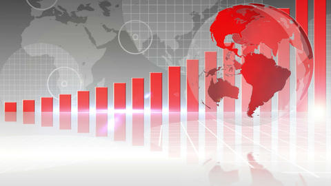 Red bar chart showing growth with globe Animation