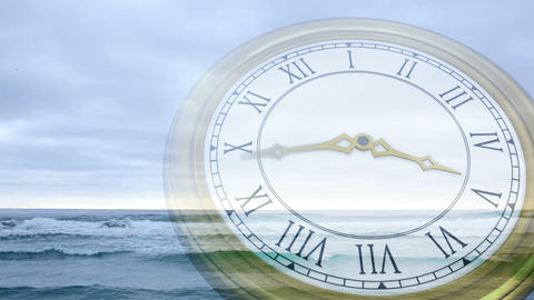 Clock Ticking Against Tide Coming In stock footage