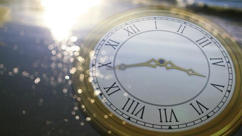 Clock ticking against sun on the sea Animation