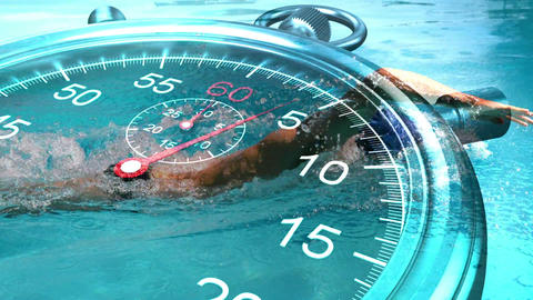 Stopwatch graphic over swimmer in slow motion Animation