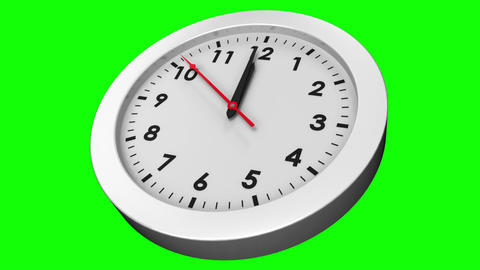 Clock ticking on green background Animation