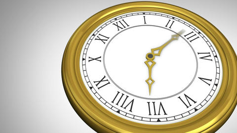 Golden roman numeral clock ticking Stock Video Footage