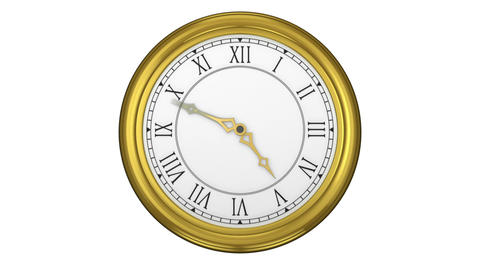 Golden roman numeral clock ticking Animation