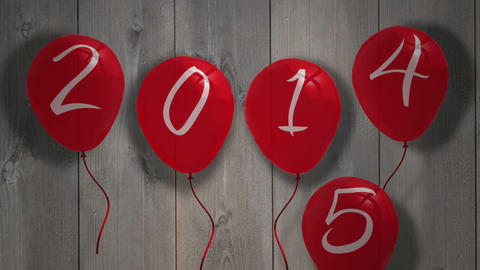 2015 balloons against wooden planks Animation