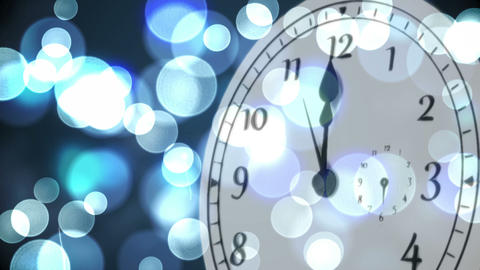 Clock counting down to midnight with fireworks Animation