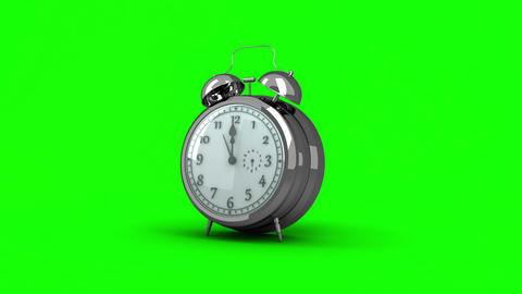 Alarm clock ringing on green background Animation