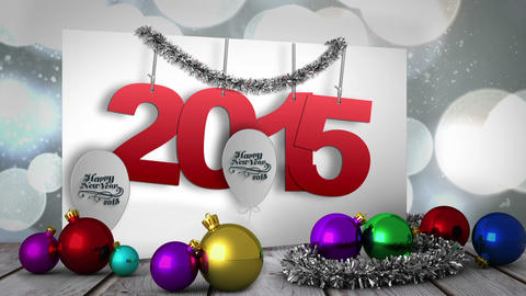 2015 on poster with decorations Animation
