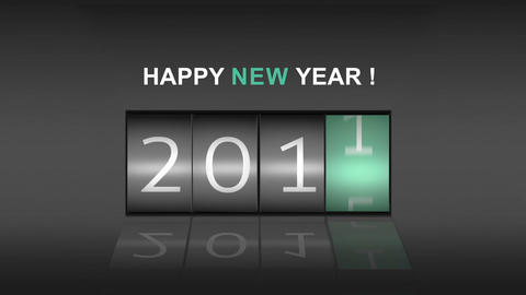 2015 on digital roller with new year message Animation
