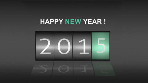 2015 on digital roller with new year message Stock Video Footage