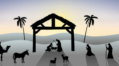 Nativity scene with rising sun Animation
