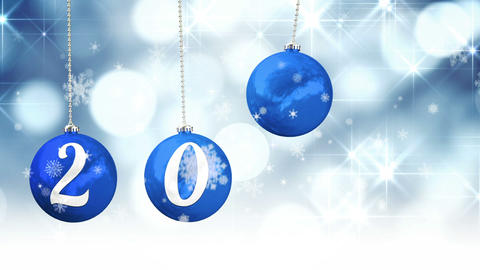 Hanging baubles spelling out 2015 Animation