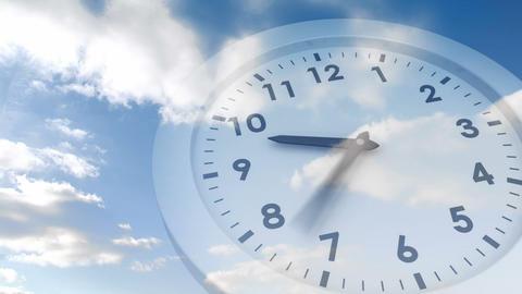 Ticking clock over blue sky Animation