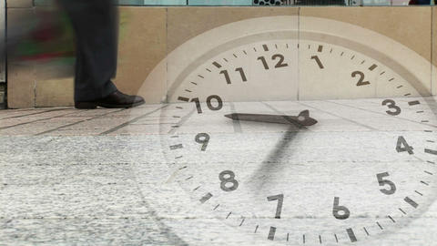 Ticking clock over busy street Animation