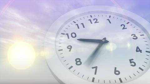 Moon and sun rising and falling with clock Animation