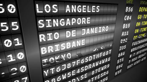 Black departures board showing on time flights Animation