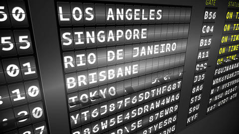 Black departures board showing on time flights Animation