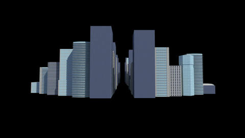 Cityscape on black background Animation