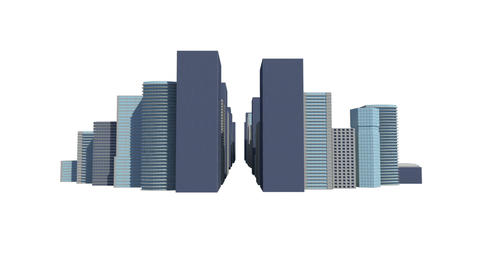 Cityscape on white background Animation