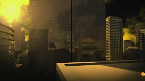 Yellow Sky Over High Skyscrapers stock footage
