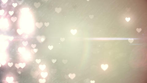 Glittering Hearts On Pale Background stock footage