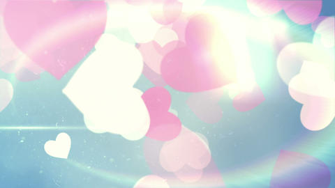 Glittering hearts on blue background Animation