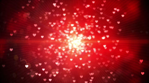 Red shimmering hearts on black background Animation