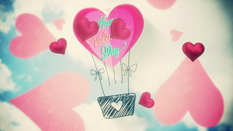 Pink hearts with valentines message Animation