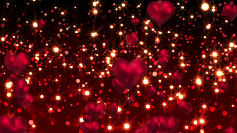 Red hearts floating against glittering background Animation