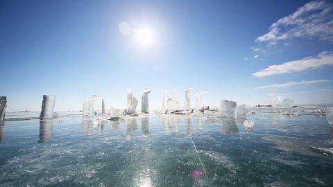 Panoramic Motion Along Ice Block Footage