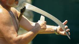 sharpening scythe in hot summer day Live Action
