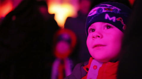 Light show, boy looking with interest Footage