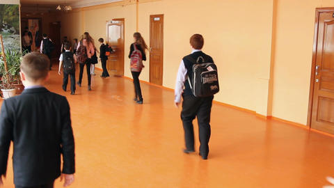 Pupil at the school go along the corridor Footage