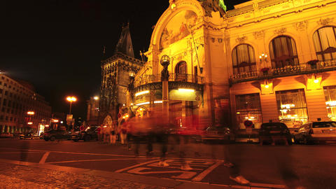 The National House at night in Prague Footage
