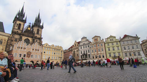 Timelapse of the Old Town Square in Prague Footage