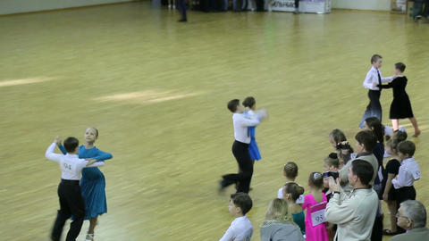 Children's Ballroom dancing tournament, shooting f Footage