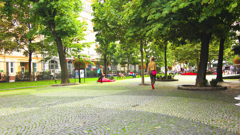 Daily life in a Park in Bratislava, Slovakia Footage