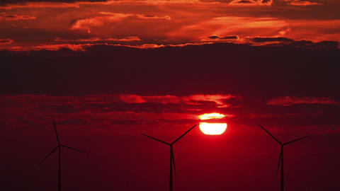 Wind turbines against red sunset Animation
