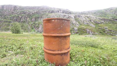 empty barrels in the Arctic environmental pollutio Footage