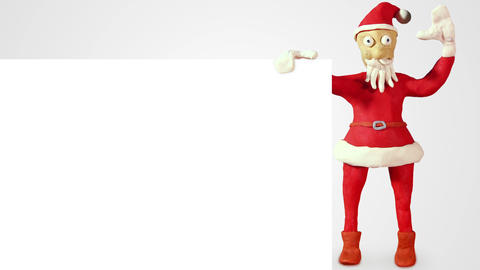 Santa Claus With White Blank Board Loopable Animat stock footage