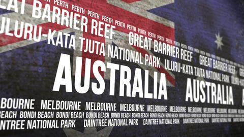 Australia Flag Tourism Attractions Banner Animation