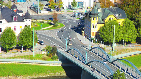 Traffic In Salzburg Crossing River Salzach stock footage