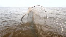 Fishing Net A Fish-trap On Lake stock footage