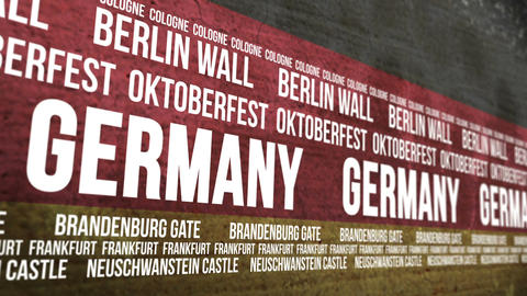 German Flag Tourism Attractions Banner Animation