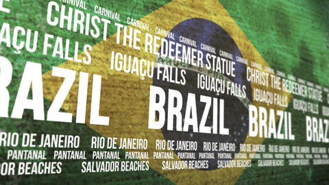 Brazil Flag Tourism Attractions Scrolling Banner Animation