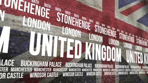 Britain Flag Tourism Attractions Scrolling Banner stock footage