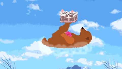 Happy bear flies on a cloud with a cake on the paw Animation